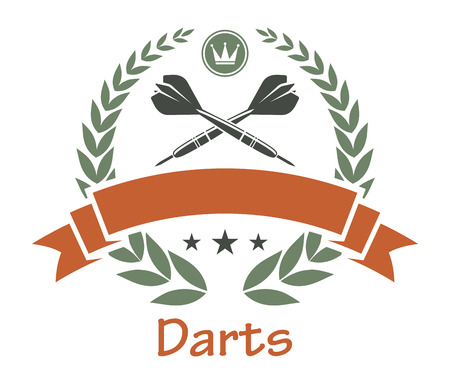 Darts sports heraldic emblem with darts, laurel wreath, banner, crown, stars for sport, heraldry or logo design