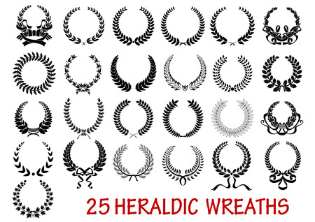 laurel leaf: Retro laurel wreath heraldic  icons set with ribbons and laurel leaf branche isolated on white background