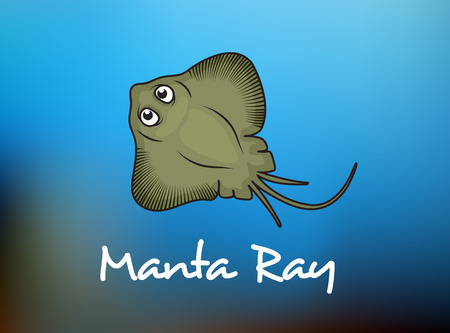 sting: Manta Ray swimming underwater with its dorsal fins spread open viewed from above on a blue background, cartoon style