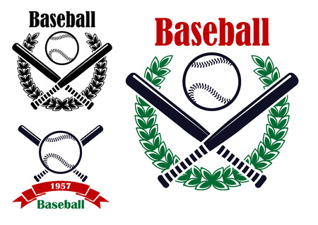 bat and ball: Baseball sporting emblems or symbols with ball, bats and  laurel wreath isolated on white background. For tournament ot sports team design