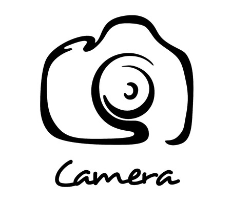 Digital camera icon, symbol or logo in outline style for art, photo or hobby design