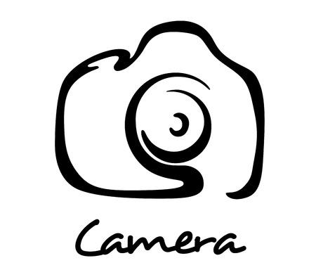 Ikona aparatu cyfrowego, symbol lub logo w stylu konspektu dla sztuki, zdjęcie lub projekt hobby Logo