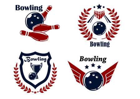 Bowling emblems or badges set with smashing ball, ninepins, laurel wreath, outspread wings, heraldic shield, trophy cup and stars