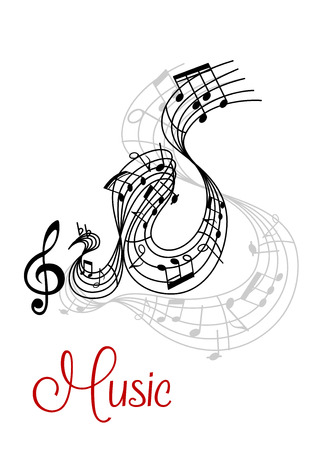 Abstract musical waves composition design with music notes and treble clef Vector
