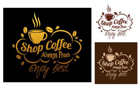 Three color variants always fresh best coffee symbol or logo, for cafe or restaurant menu design