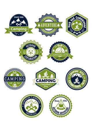 Camping, travel, outdoor and adventure  icons or badges in retro style for travel industry design Ilustração