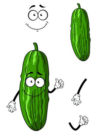 pepino caricatura: Pepino verde feliz de dibujos animados u hortaliza pepinillo con la cara sonriente aislados en blanco