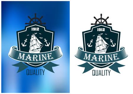 Marine jakości emblematy odznaki w dwóch wariantach kolorystycznych z osłoną otaczającą Żaglowiec z żaglami ustalonych i wstążka banner z napisem Marine z jakości poniżej