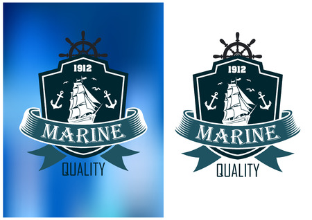 tall ship: Marine quality emblems of badges in two color variations with a shield enclosing a tall ship with sails set and a ribbon banner with the word Marine with Quality below