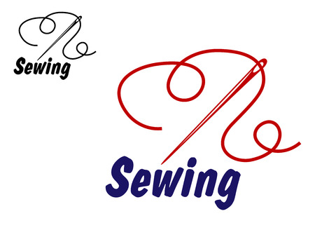 sewing needle: Needlework or sewing symbol with needle and thread for sewing, tailoring or dressmaking design