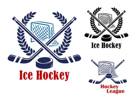 in net: Ice hockey symbol with hockey net, laurel wreath, puck and sticks suitable for sporting emblem design