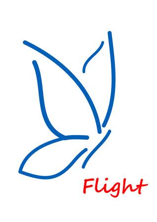 mariposa: Contorno de la mariposa silueta aislados en blanco para la naturaleza, la paz o la ecología concepto de diseño Vectores