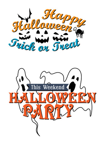 Halloween banner templates for a Halloween Party This Weekend decorated with ghosts and the second for Halloween Trick or Treat with a bat, cat and ghoulish lanterns Illustration