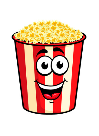 Cartoon gelukkige leuke popcorn karakter voor fastfood ontwerp