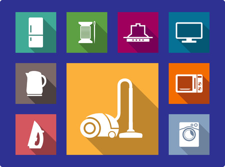 sign maker: Household equipment flat icons set with refrigerator,  water heater, TV, kettle, iron, vacuum cleaner, microwave and washing machine