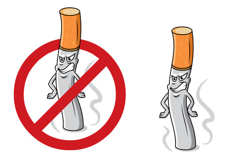 butt: Cartoon angry cigarette butt with smoke, fire and stop sign for antinicotine and healthcare design