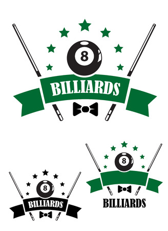 pool cues: Retro style emblem of snooker and billiards with a ball, bow tie, stars and cues. For sporting  and logo design