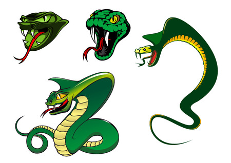 serpents: Green cartoon angry snake characters for animal, tattoo and mascot design Illustration