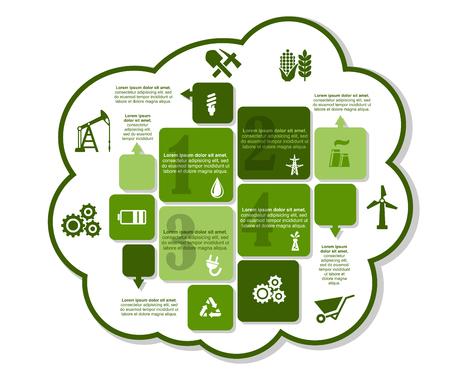bomba de agua: Dise�o infograf�a industrial con bomba de aceite, l�mpara ahorro de energ�a, ca�da, tubo de f�brica, enchufe el�ctrico, plataforma petrolera, bater�a, engranaje, carro, motor de viento y eco signo de reciclaje Vectores
