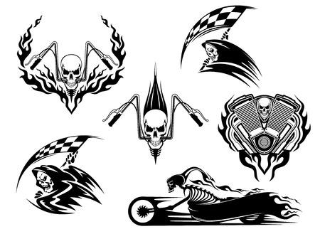 llamas de fuego: Conjunto de cr�neos automovilismo en dise�os blancos y negros con una parca que sostiene una bandera a cuadros, competir con el cr�neo en el manillar y el esqueleto en una bicicleta roadster acelerar arrastrando llamas Vectores