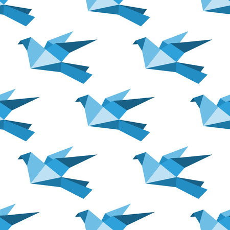 origami pattern: Seamless background pattern of flying origami pigeons and doves Illustration