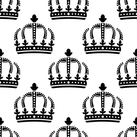 corona: Seamless pattern of black medieval vintage royal crown for wallpaper, tiles and fabric design
