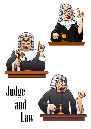 supreme: Cartoon judge characters with gavel hammer and wig. For law design