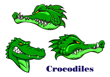 Cartoon scary, carnivore and aggressive crocodile or alligator characters for mascot design