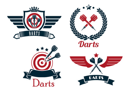 Darts emblems set with laurel wreath, crowns, ribbon banners, outspread wings, heraldic shield,  stars and darts for sporting symbol design Ilustração