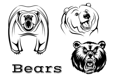 Strong angry grizzly bears characters isolated on white for tattoo, wildlifel and mascot design Illustration