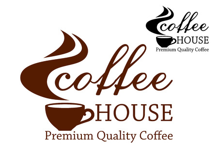 Premium quality coffee retro emblem with cup of coffee and steam, for cafe house and restaurant menu design  Vector