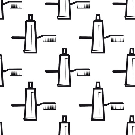 toothpaste tube: Seamless background pattern of toothpaste tube and tooth brush, for dental hygiene, health care and medicine design