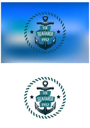 Retro seafarer label with vintage anchor, round rope border, text signs and banner for marine or  nautical design Vector