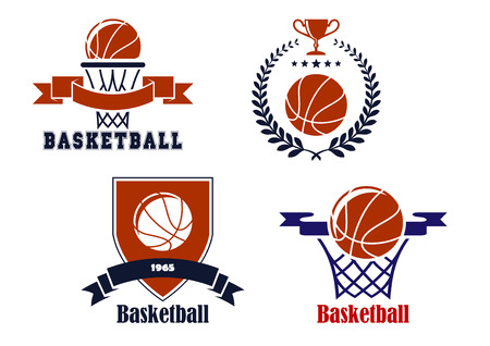 Basketball emblems or symbols with baskets, laurel wreath, heraldic shield, trophy cup  and balls for sports design Illustration