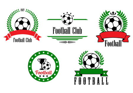 Football or soccer emblems and badges set with ribbon banners, laurel wreaths, circular frame and text Football or Football Club  in green red, black, white Vector