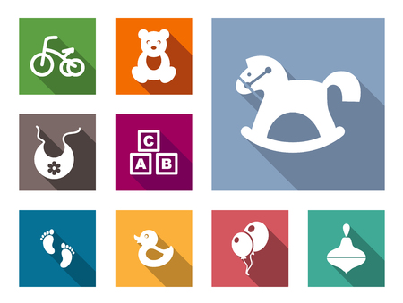 Kid stuff flat icons set with bicycle, bear, toy, bib, horse-rocking, footprint, duck, balloons, pinwheel Vector
