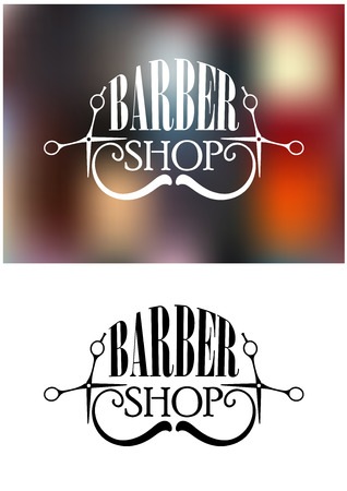 Two color variants of barber shop icon, emblem, label or logo,  with moustache and scissors, silhouette elements on white colored and colorful blurred background Illustration