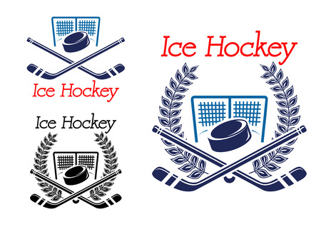 hockey goal: Ice hockey sporting emblems with hockey puck, net and sticks