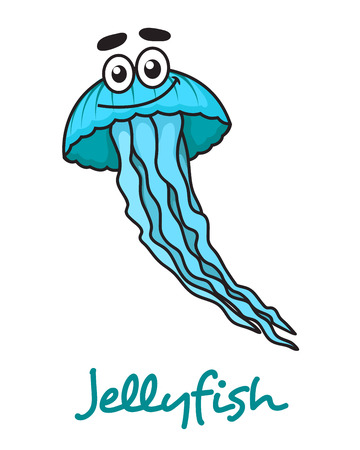 jelly fish: Funny cute cartoon blue jellyfish character isolated on white for nautical and  marine design