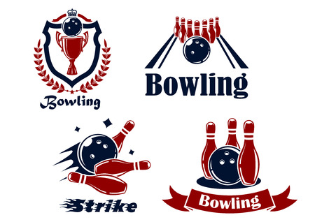 Bowling emblems or symbols showing bowling balls and ninepins, one in a shield with a wreath, and text Bowling or Strike in red and black in silhouette Illustration