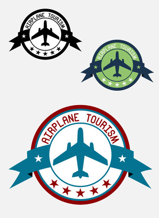 Airplane tour logo for transportation, business, aviation, and tourism design  Vector