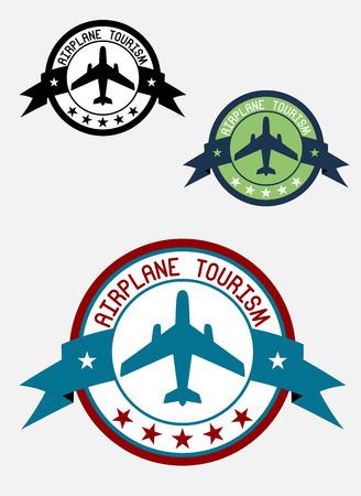 Airplane tour logo for transportation, business, aviation, and tourism design  Vector