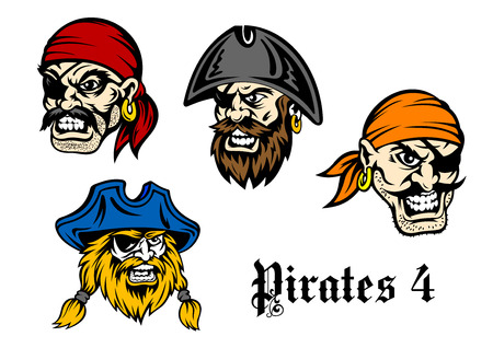 pirate cartoon: Cartoon brutal pirates and captains in bandannas, eye patches for adventures or mascot design Illustration