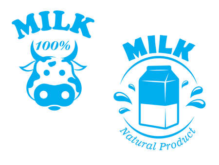 pasteurized: Milk emblem or symbol with cow head and package of one hundred percent natural product for farming, dairy and agriculture design