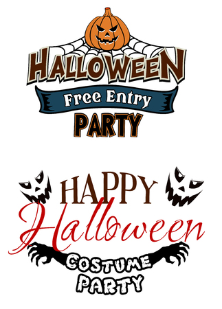 Halloween party themes with monsters and pumpkin on net Vector