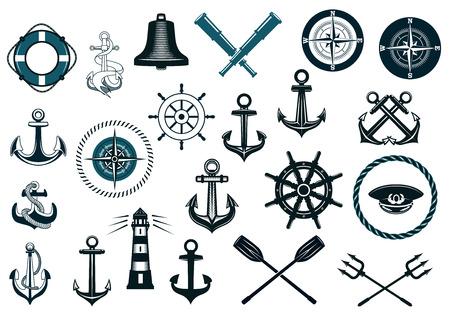 azul marino: Conjunto de iconos náuticos o navales con ancla, rueda de la nave, cruzado tridentes, faro, campana, COmass y catalejo para diseño de la heráldica marina