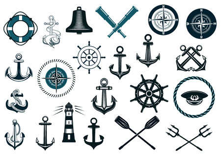 bell: Set of nautical or naval icons with anchor, ship wheel, crossed tridents, lighthouse, bell, comass and spyglass for marine heraldry design
