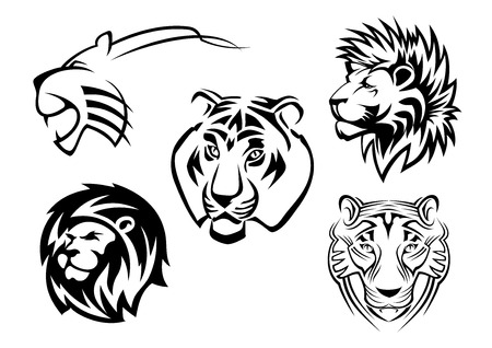 Wild lions, tigers and panthers heads for team mascot design Vector