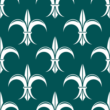 Seamless royal floral fleur-de-lis pattern on dark turquoise colored background Vector
