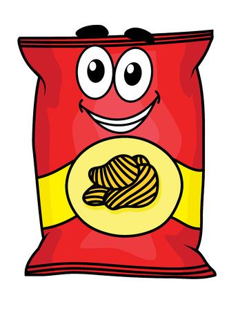 merenda: Cartoon felice carino patatine fritte carattere pacchetto per imprese e spuntino di design Vettoriali